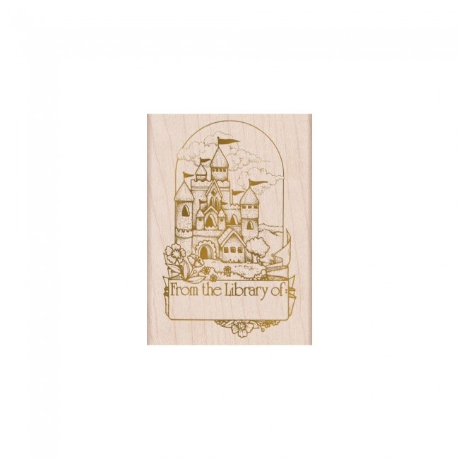 Sello de madera Castle Book Plate