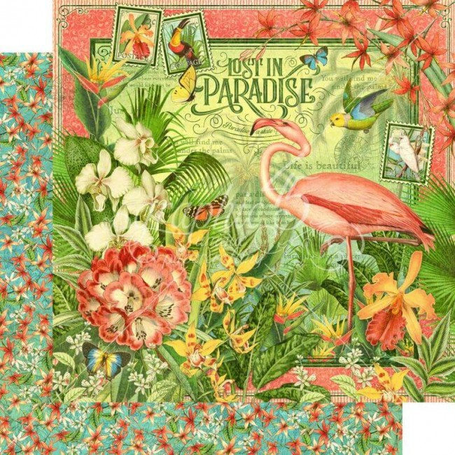 Papel Estampado Doble Cara 12x12 Lost In Paradise Lost In Paradise