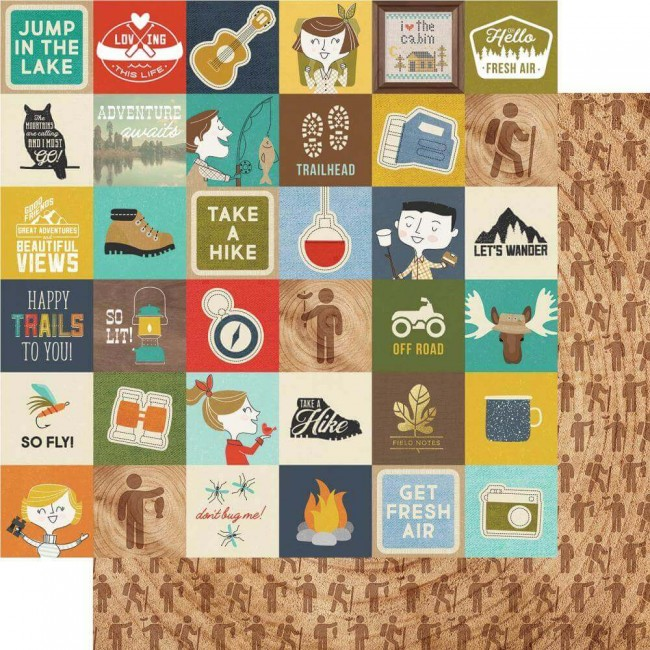 "Papel Estampado Doble Cara 12x12 Happy Trails 2""X2"" Elements"