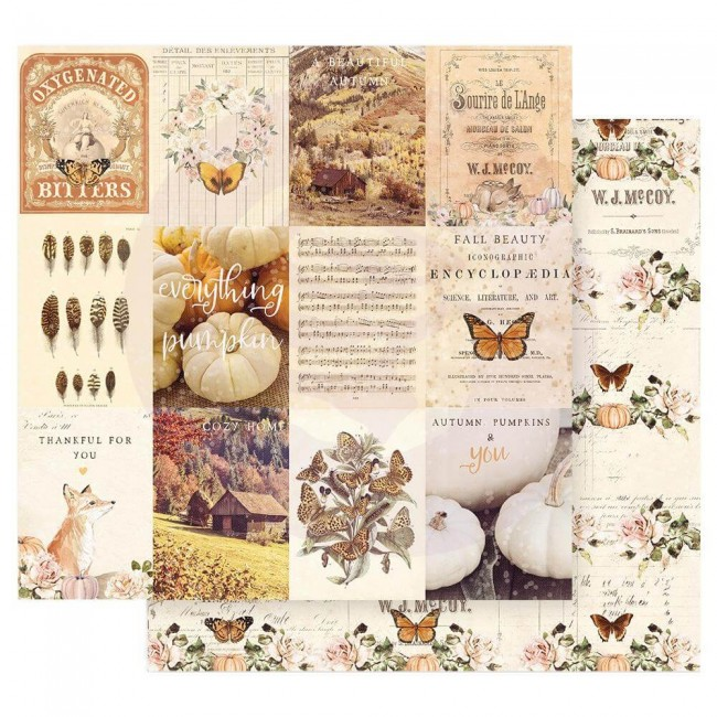 Papel Estampado Doble Cara 12x12 Autumn Sunset Pumpkins & You