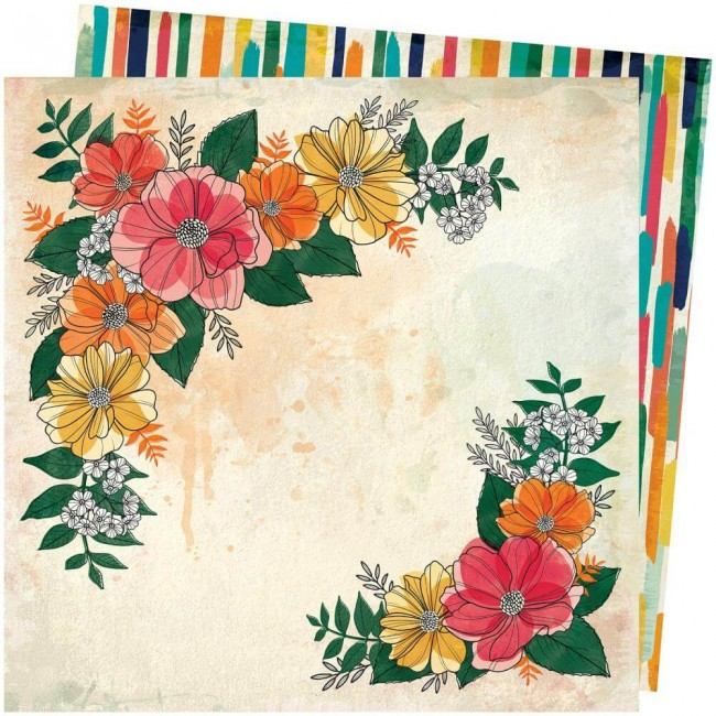 Papel Estampado Doble Cara 12x12 Wild Flower & Honey Vicki Boutin Blossom