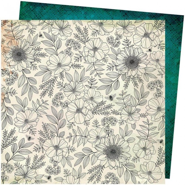 Papel Estampado Doble Cara 12x12 Wild Flower & Honey Vicki Boutin Full Bloom