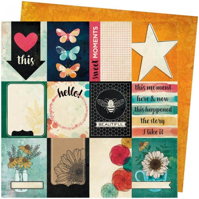 Papel Estampado Doble Cara 12x12 Wild Flower & Honey Vicki Boutin Mingle