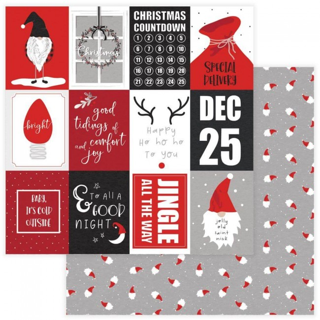 Papel Estampado Doble Cara 12x12 Kringle & Co Happy Ho Ho Ho