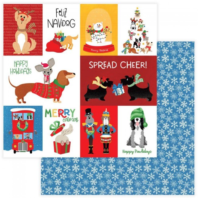Papel Estampado Doble Cara 12x12 Muttcracker Feliz Navidog