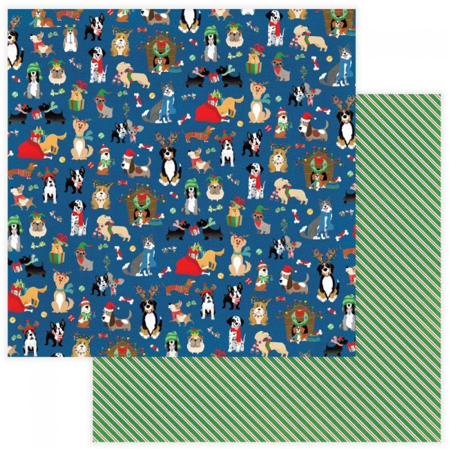 Papel Estampado Doble Cara 12x12 Muttcracker Happy Howlidays