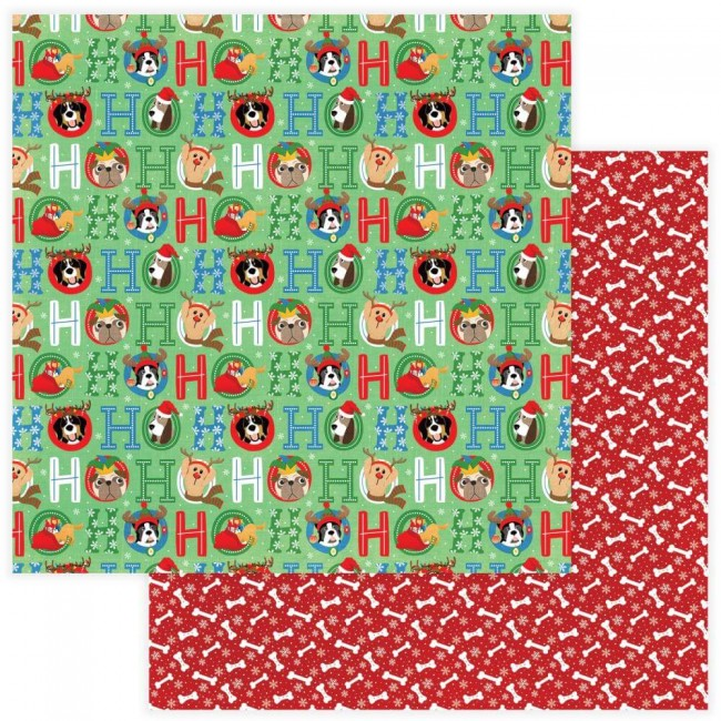 Papel Estampado Doble Cara 12x12 Muttcracker Ho Ho Ho