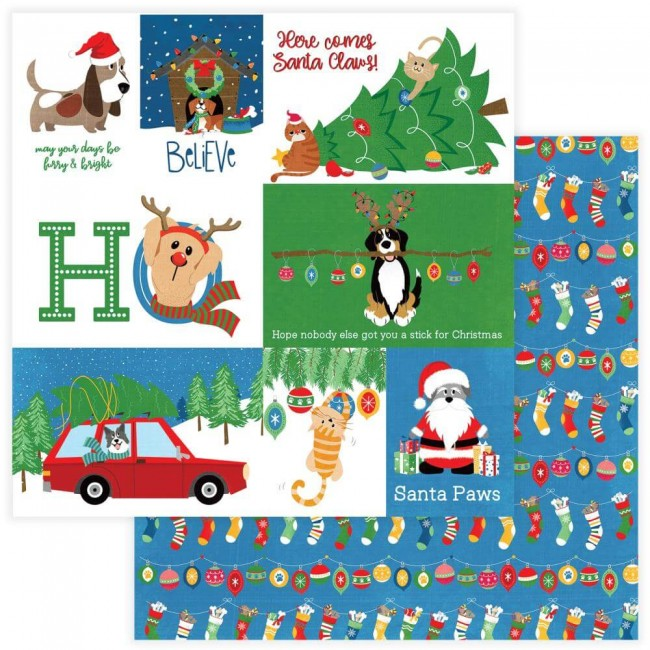 Papel Estampado Doble Cara 12x12 Muttcracker Santa Paws