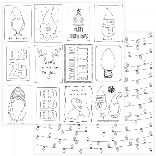 Papel Estampado Doble Cara 12x12 Kringle & Co Black & White Color Me Cards