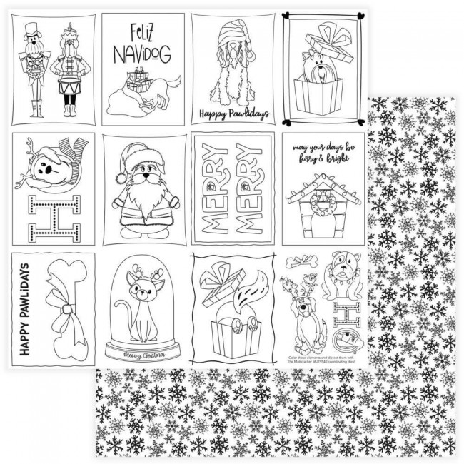 Papel Estampado Doble Cara 12x12 Muttcracker Black & White Color Me Cards