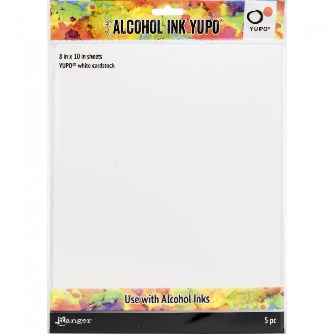Papel Yupo Tim Holtz Alcohol Ink 86 lb 8x10 5 hojas Blanco