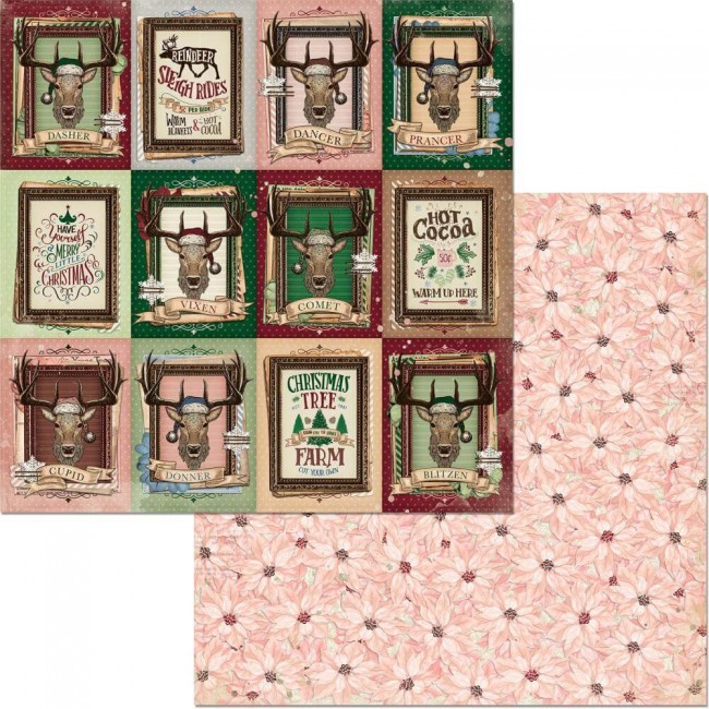 Papel Estampado Doble Cara 12x12 Christmas Treasures Reindeer