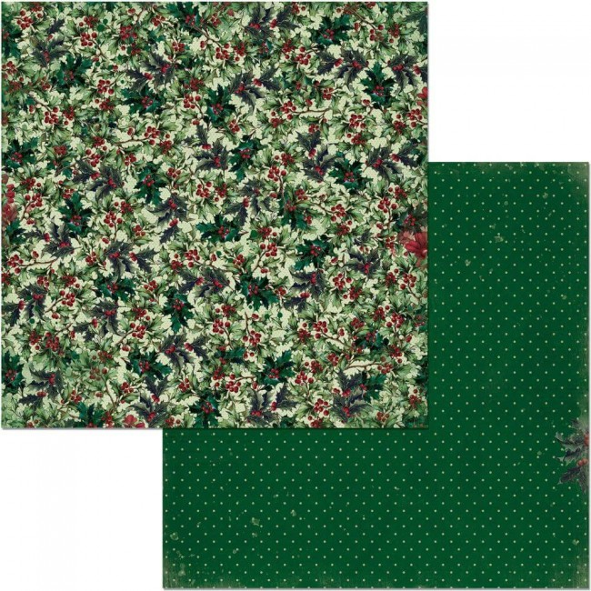 Papel Estampado Doble Cara 12x12 Christmas Treasures Holly
