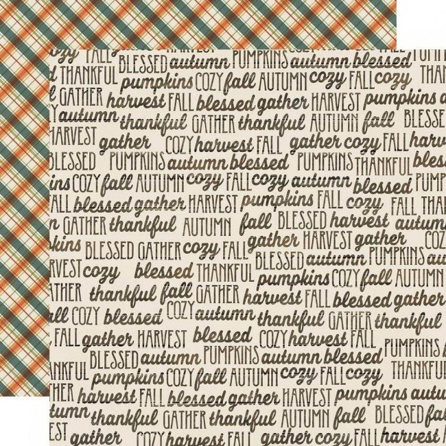 Papel Estampado Doble Cara 12x12 Fall Farmhouse Fall Memories