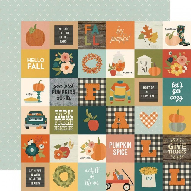 Papel Estampado Doble Cara 12x12 Fall Farmhouse 2x2 Elements