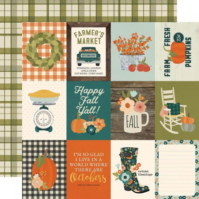 Papel Estampado Doble Cara 12x12 Fall Farmhouse 3x4 Elements