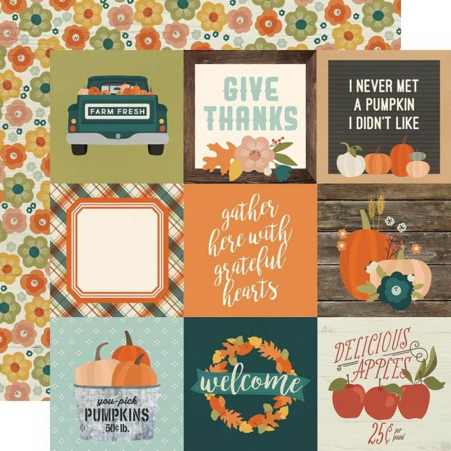 Papel Estampado Doble Cara 12x12 Fall Farmhouse 4x4 Elements