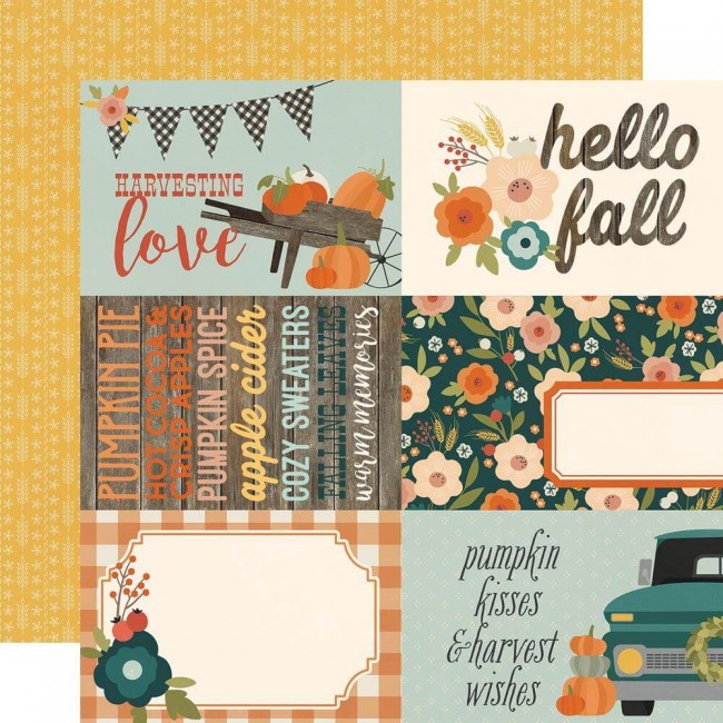 Papel Estampado Doble Cara 12x12 Fall Farmhouse 4x6 Elements