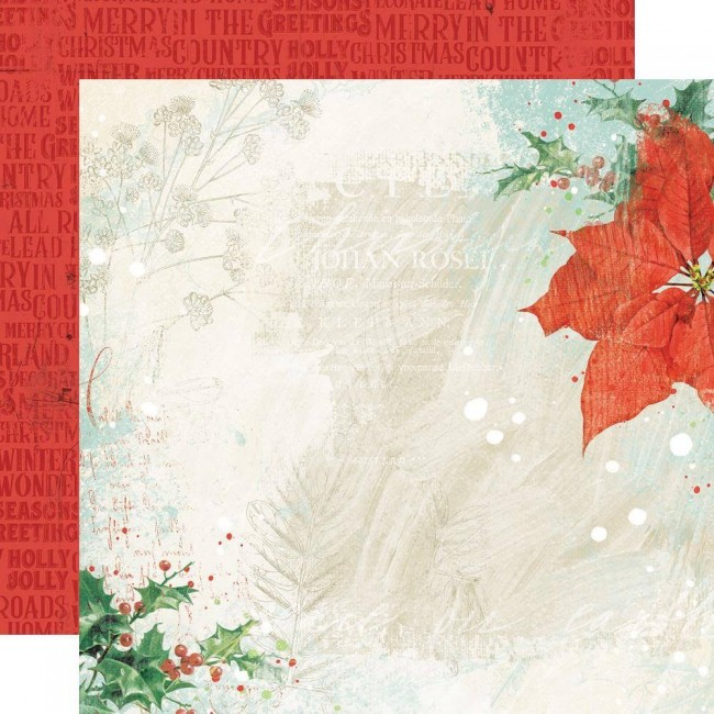 Papel Estampado Doble Cara 12x12 Country Christmas Glad Tidings