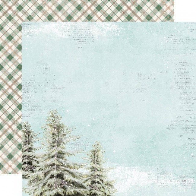 Papel Estampado Doble Cara 12x12 Country Christmas O Christmas Tree