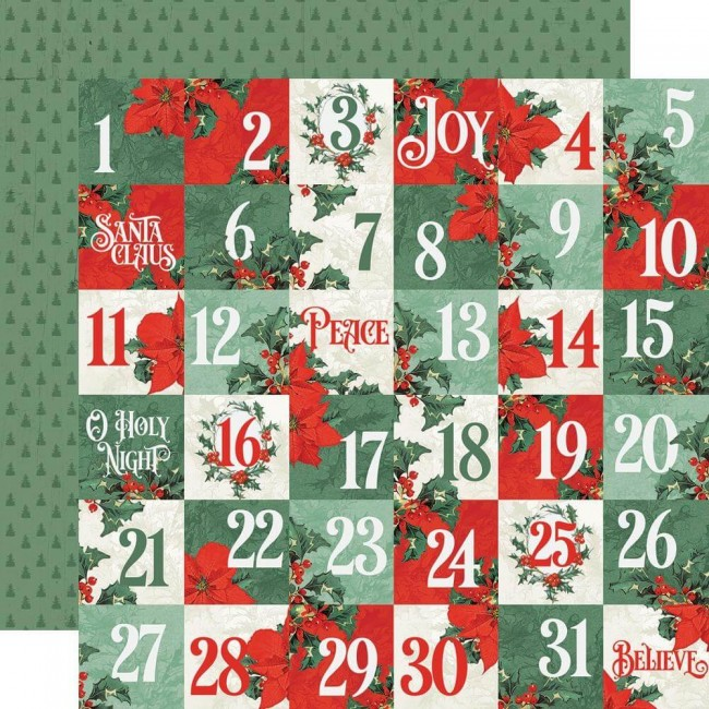 Papel Estampado Doble Cara 12x12 Country Christmas 2x2 Elements