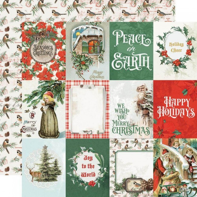 Papel Estampado Doble Cara 12x12 Country Christmas 3x4 Elements
