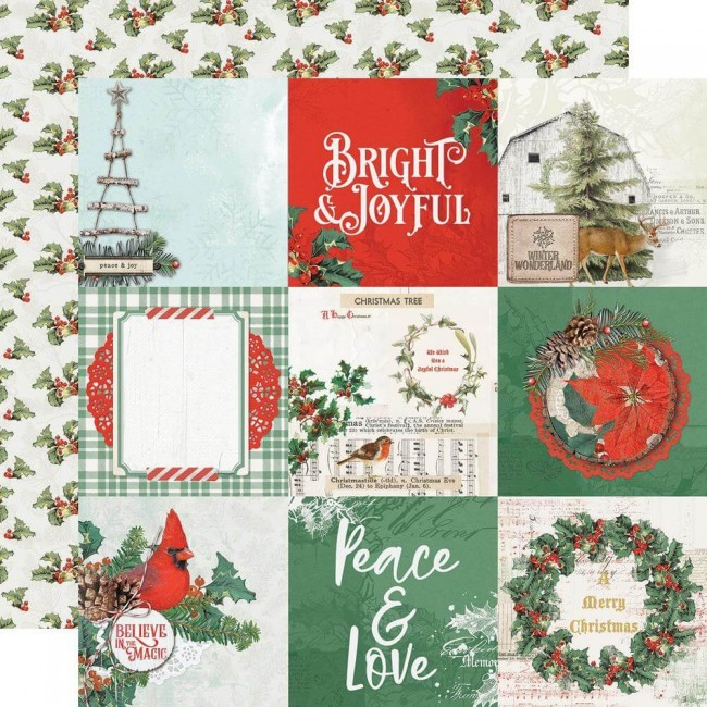 Papel Estampado Doble Cara 12x12 Country Christmas 4x4 Elements