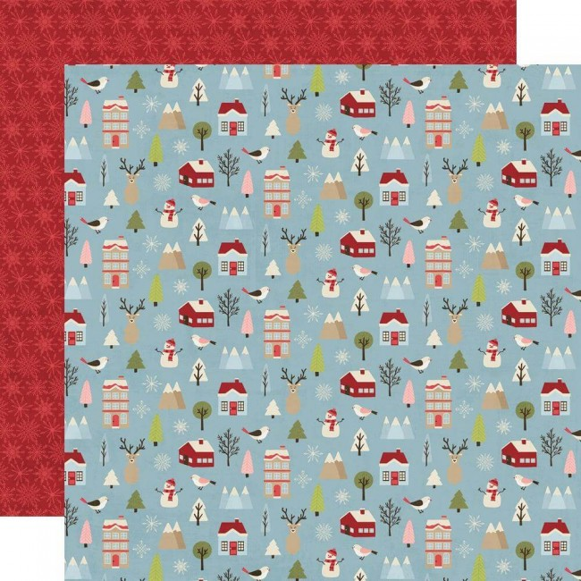 Papel Estampado Doble Cara 12x12 Holly Jolly Winter Wonderland