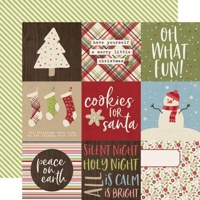 Papel Estampado Doble Cara 12x12 Holly Jolly 4x4 Elements