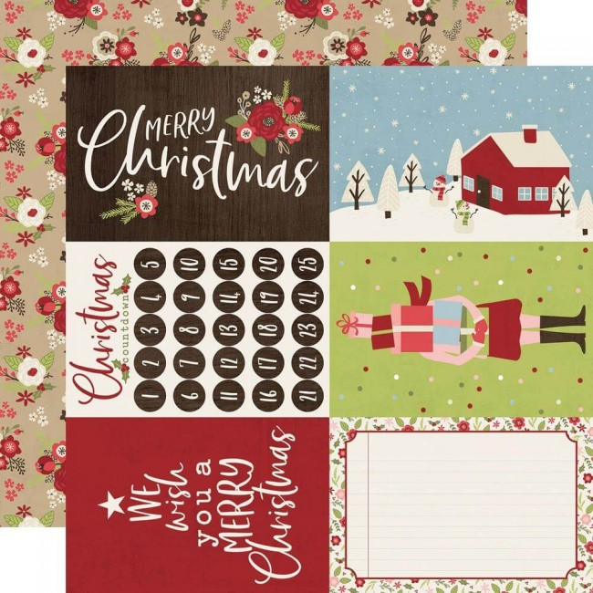 Papel Estampado Doble Cara 12x12 Holly Jolly 4x6 Elements