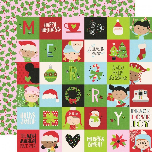 "Papel Estampado Doble Cara 12x12 Say Cheese Christmas 2""X2"" Elements"