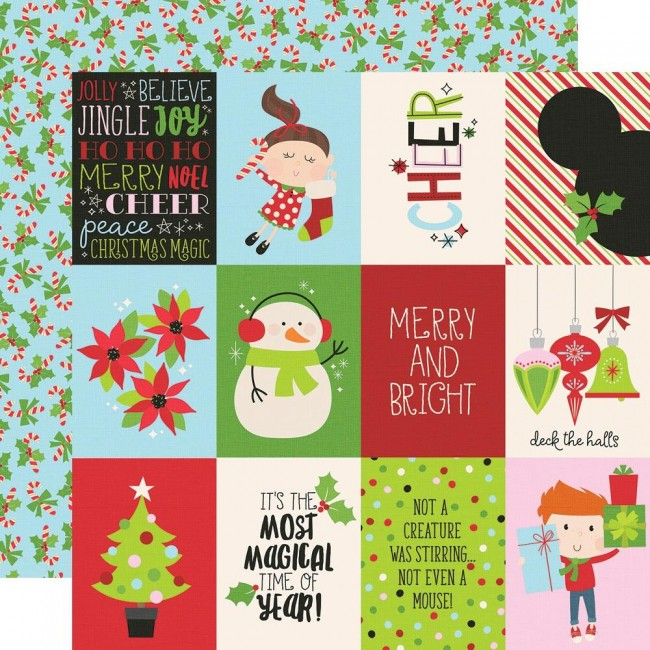 "Papel Estampado Doble Cara 12x12 Say Cheese Christmas 3""X4"" Elements"