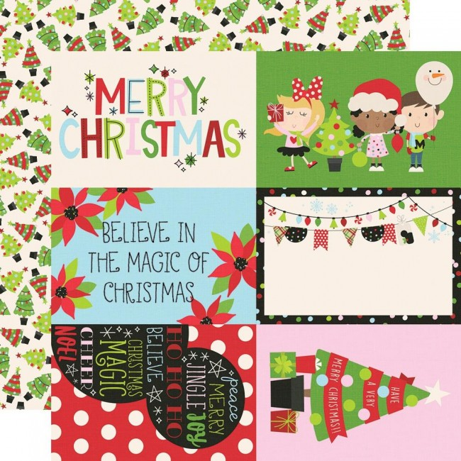 "Papel Estampado Doble Cara 12x12 Say Cheese Christmas 4""X6"" Elements"