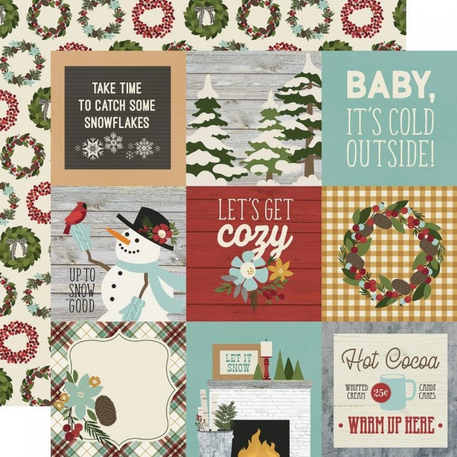 "Papel Estampado Doble Cara 12x12 Winter Farmhouse 4""X4"" Elements"