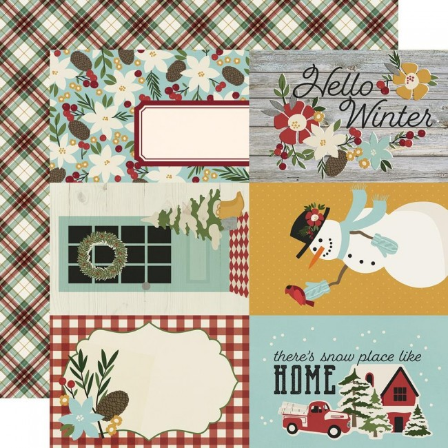 "Papel Estampado Doble Cara 12x12 Winter Farmhouse 4""X6"" Elements"