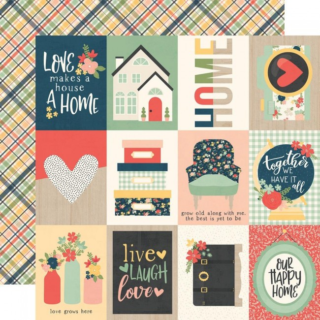 "Papel Estampado Doble Cara 12x12 So Happy Together 3""X4"" Elements"