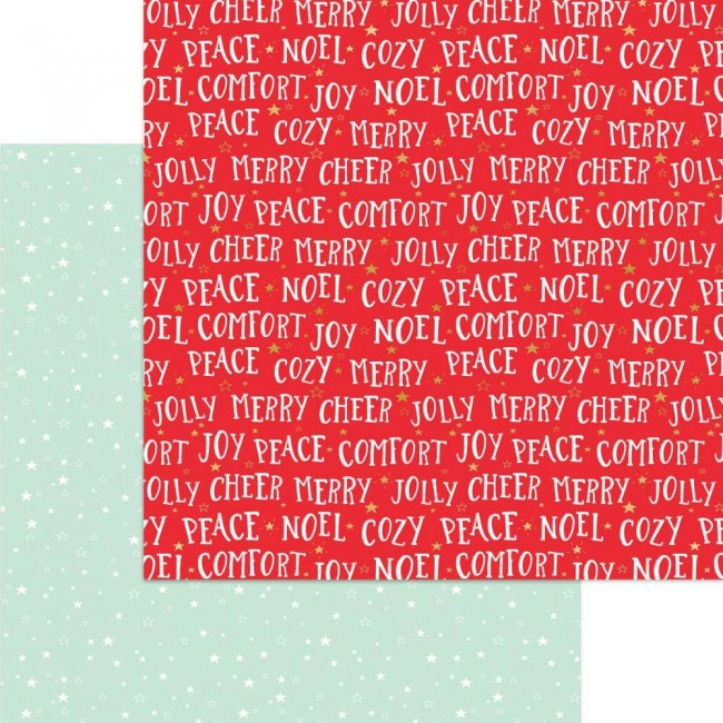 Papel Estampado Doble Cara 12x12 Holly Jolly Comfort & Joy