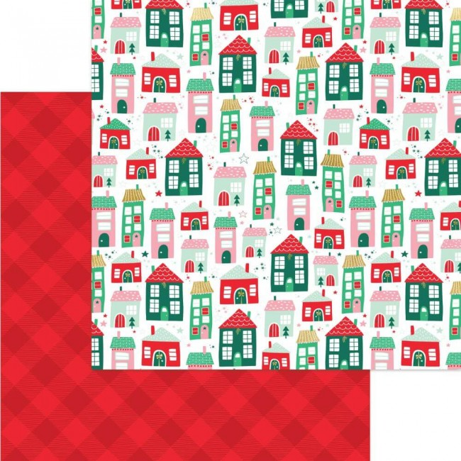 Papel Estampado Doble Cara 12x12 Holly Jolly Up On The Housetop