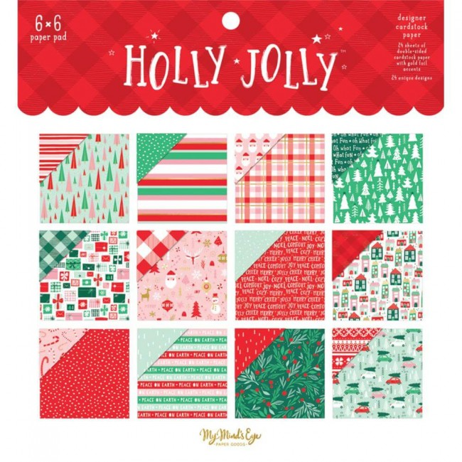 Stack Papeles Estampados 6x6 Holly Jolly