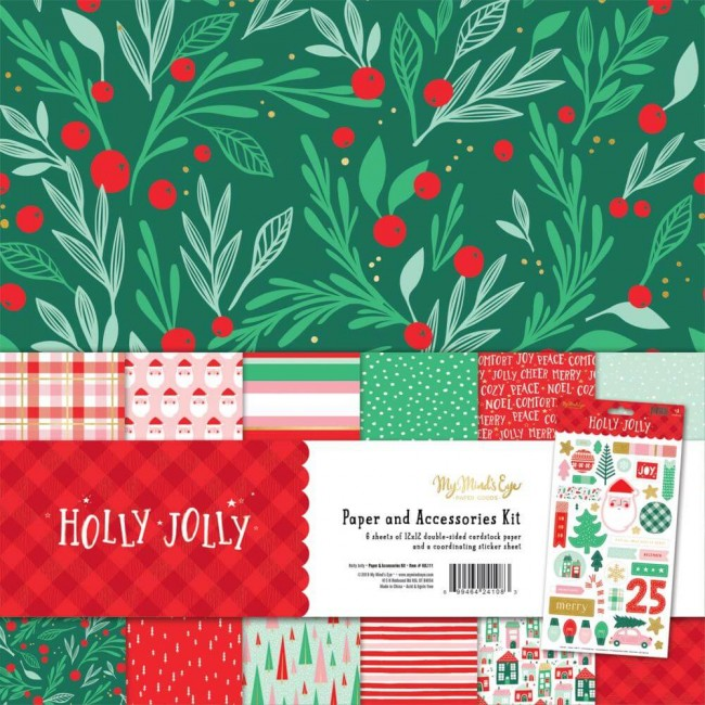 Kit Papeles Estampados 12x12 Holly Jolly