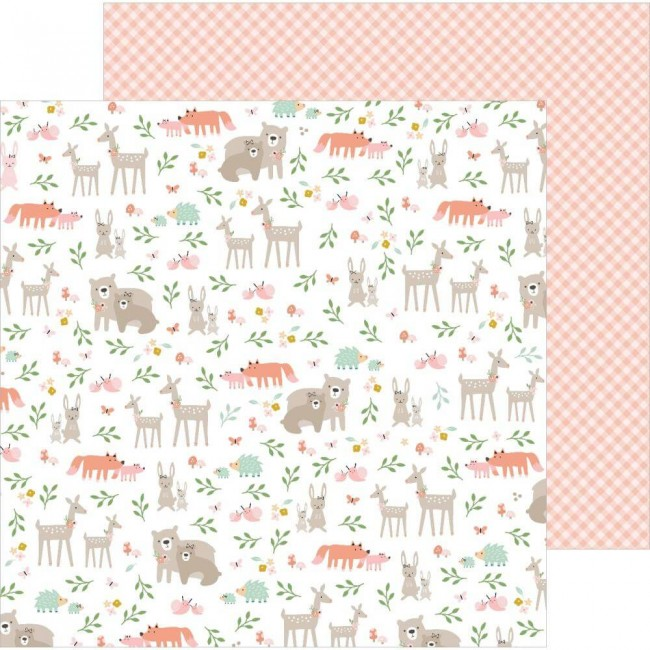 Papel Estampado Doble Cara 12x12 Peek A Boo You Woodland Adventure Girl