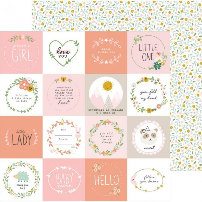 Papel Estampado Doble Cara 12x12 Peek A Boo You Little One Girl