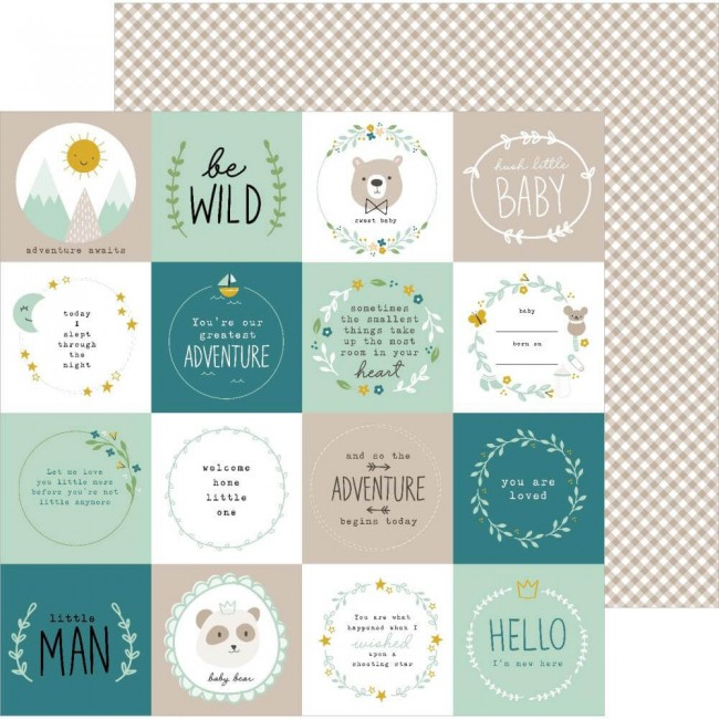Papel Estampado Doble Cara 12x12 Peek A Boo You Be Wild Boy