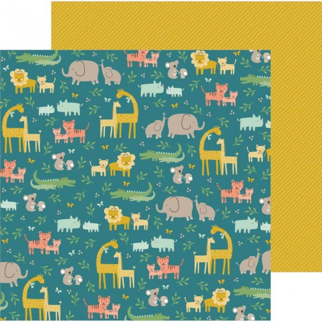 Papel Estampado Doble Cara 12x12 Peek A Boo You Jungle Adventure Boy
