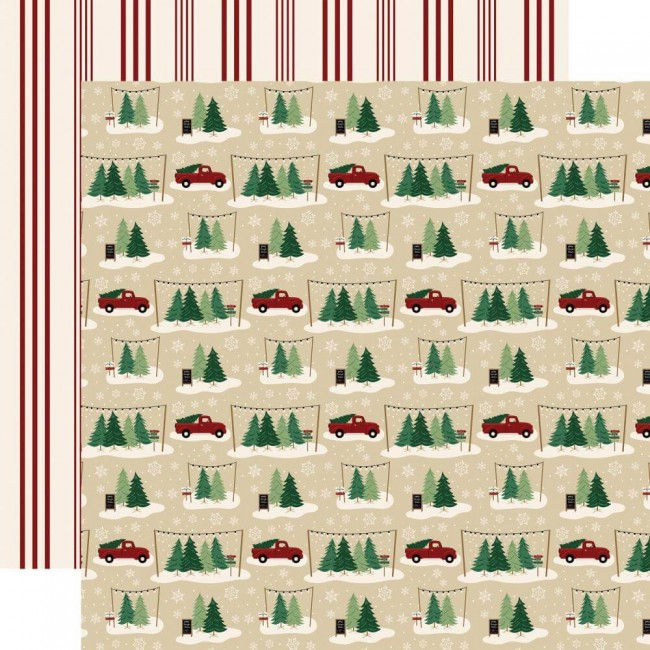 Papel Estampado Doble Cara 12x12 A Cozy Christmas Tree Farm