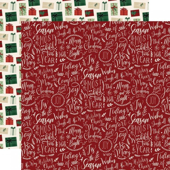 Papel Estampado Doble Cara 12x12 A Cozy Christmas Merry & Blessed