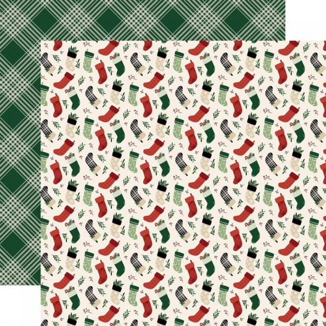 Papel Estampado Doble Cara 12x12 A Cozy Christmas Stockings