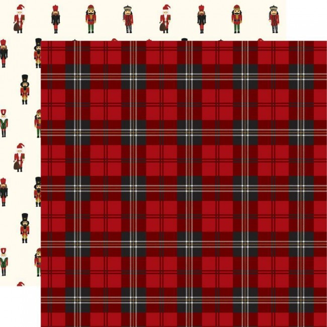 Papel Estampado Doble Cara 12x12 Here Comes Santa Claus Christmas Plaid