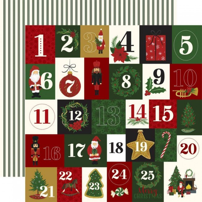 Papel Estampado Doble Cara 12x12 Here Comes Santa Claus Twenty-Five Days
