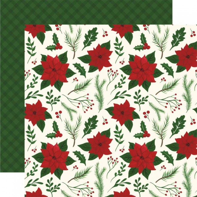 Papel Estampado Doble Cara 12x12 Here Comes Santa Claus Merry & Bright